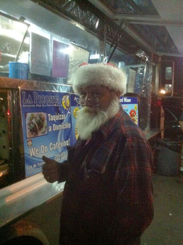 Santa trades milk and cookies for tacos at La Picosita in Lodi