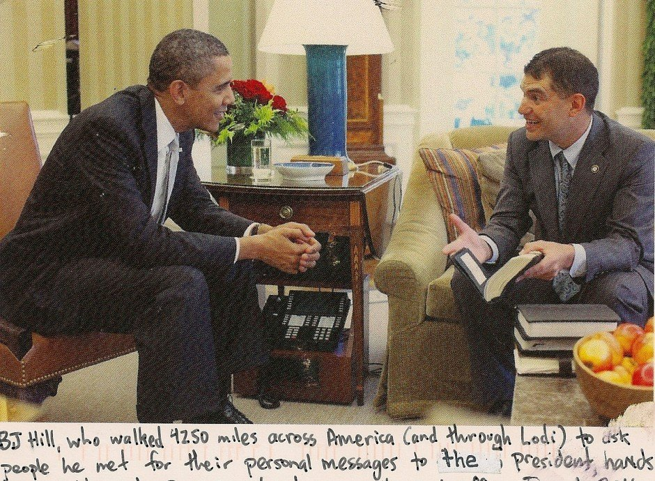 Unique postcard features President Obama with B.J. Hill