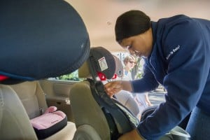 Experts check childrens car seats for safety at Lodi Lake