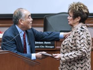 Outgoing Lodi Mayor Alan Nakanishi honors Carol Meehleis for service