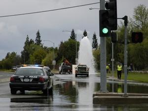 Water skyrockets into air after car hits fire hydrant in Lodi