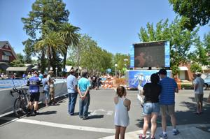 Amgen Tour of California crowd screams for cyclists at Stage 2 finish in Lodi