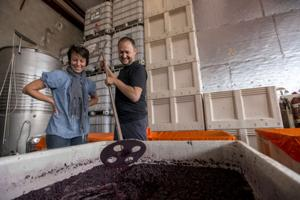 Jeremy and Choral Trettavik create deep red wines in Lodi warehouse