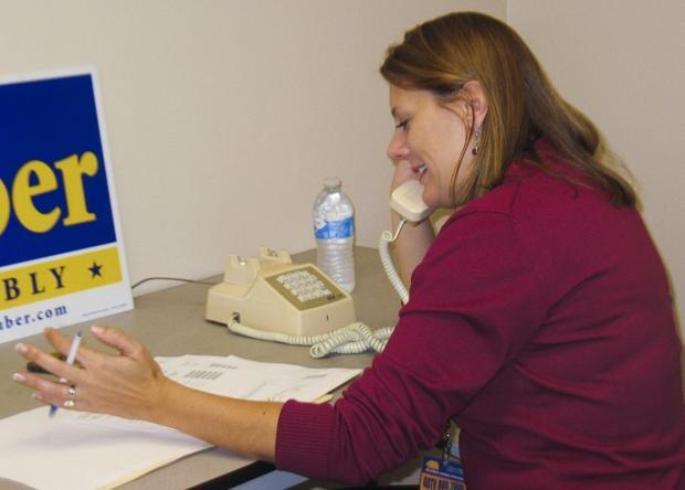 Assemblywoman Alyson Huber works the phones