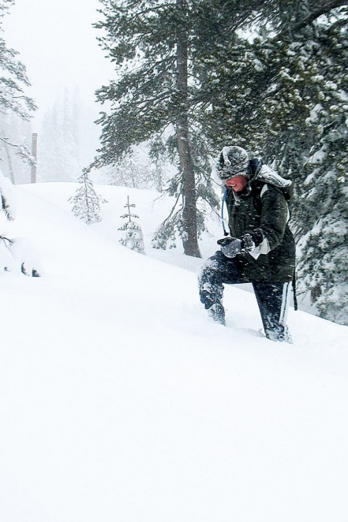 Snowshoeing and surviving in a white-washed wilderness