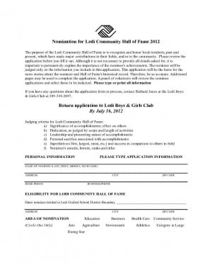 Nomination form for Lodi Community Hall of Fame 2012