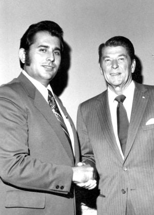 Dan Parises, Former San Joaquin County Supervisor And Delta College Trustee, Dies At 75: Dan Parises poses for a photo with Ronald Reagan.  - Courtesy photograph