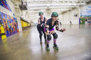Reporter Skates After Her Derby Girl Dreams : Caption  - Photo by Dan Evans/News-Sentinel
