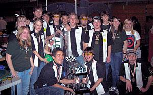 Jim Elliot robotics team slam dunks robo-opponents
