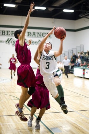 Liberty Ranch defeats West Campus in varsity boys basketball