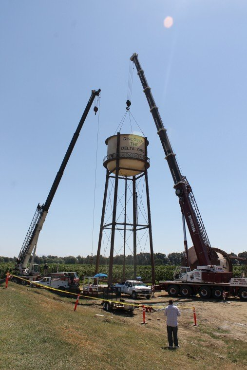 Water tower rises over the Delta
