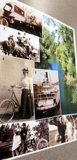 "Shining A Light On Lodi History: A page of  photos of old-time Lodi, plus the Mokelumne River as it looks today, that is in a new history book, ""Our Time to Shine,"" written by Victor native Toni Christman, who now lives in Carmichael.  - Photo by Ross Farrow/News-Sentinel"