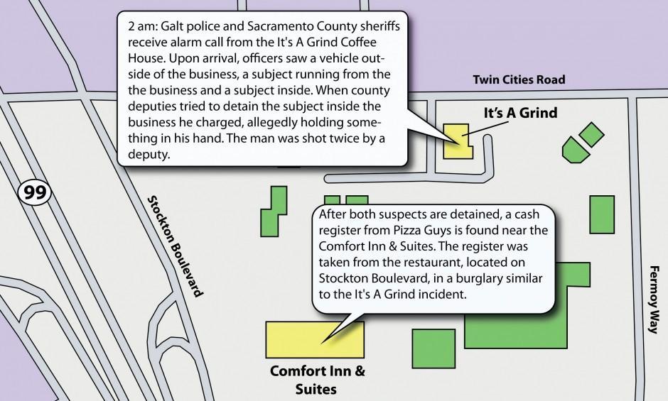 Galt burglary suspect shot