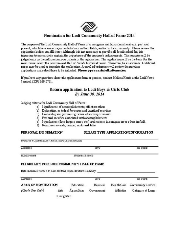 Lodi Community Hall of Fame 2014 nimination form