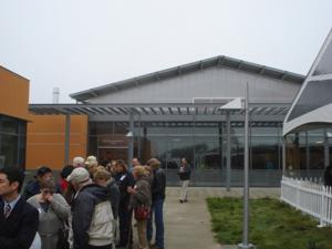 Crowds gather to tour the new winery