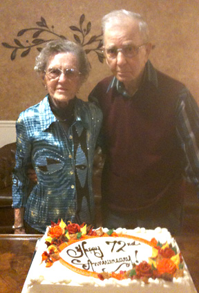 Reuben and Alma Gartner celebrate 72nd anniversary