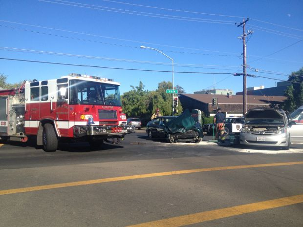 Crews clean up nasty collision at Ham Lane and Vine Street