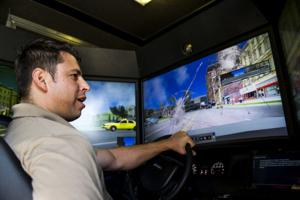 Galt police officers chase suspects through a virtual world