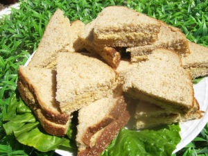 A mock tuna salad sandwich