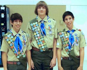 Garrett Heitzman, Jay Andrade and Carlos Andrade earn Eagle Scout rank