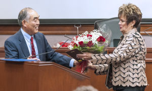 Outgoing Lodi Mayor Alan Nakanishi honors Carol Meehleis for service