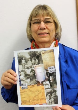 "Shining A Light On Lodi History: Local author Toni Christman shows a copy of her book, ""Our Time to Shine,"" depicting Lodi's colorful history, on Sunday, Nov. 18, 2012.  - Ross Farrow/News-Sentinel"