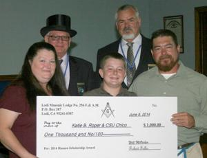 Masons present memorial scholarship award