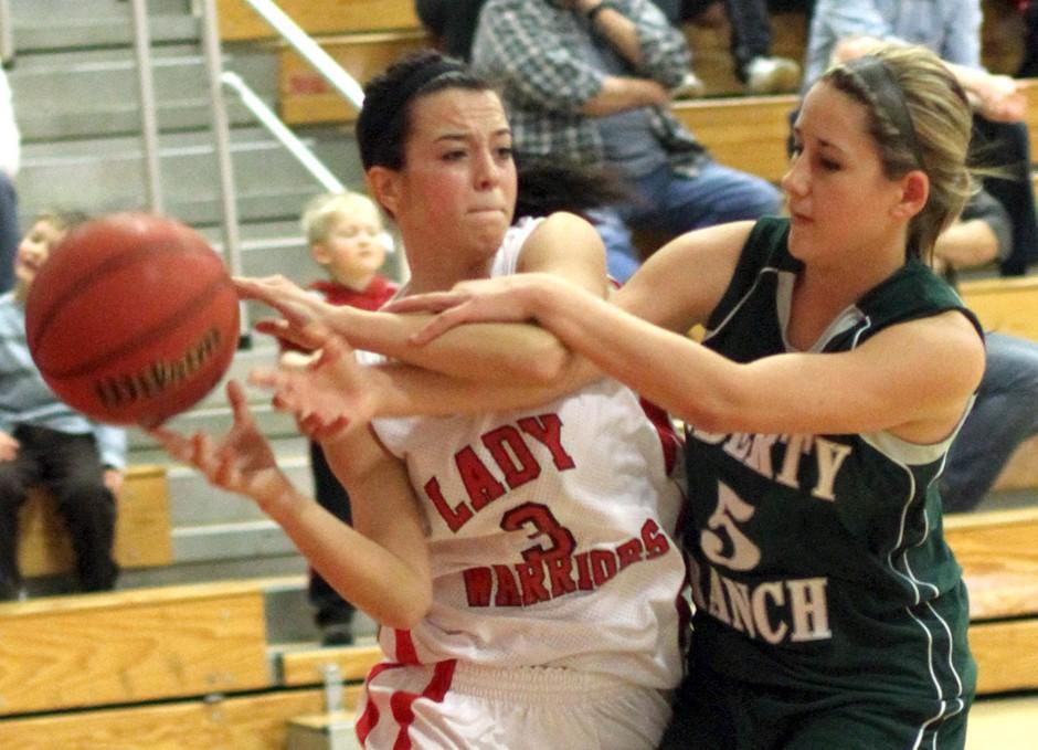Galt Warriors shoot down the Liberty Ranch Hawks in varsity girls basketball