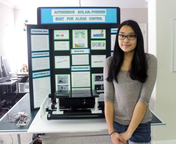 Tokay High School student Julie Fukunaga hopes to make waves with algae-fighting boat