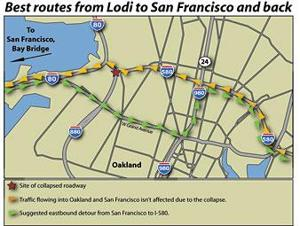 Commuters face delays, detours between Lodi and San Francisco