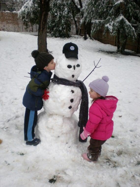 Snowman and Little Friends