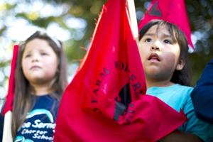 United Farm Workers march through Lodi