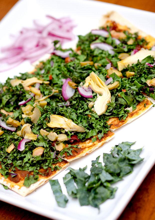 Try thin-crust kale pizza for a healthier alternative