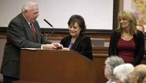 Outgoing Mayor Bob Johnson recognizes Partners, Lodi House