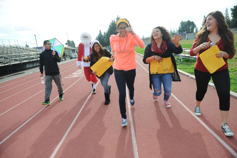 Students walk to support Tokay High School teacher Kris Goldstein