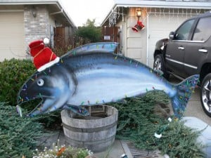 Christmas Salmon Stolen From Local Fisherman's Yard: A large hand-painted salmon sign was stolen from the front yard of a Woodbridge home on Friday, Nov. 30, 2012. The fish, a gift to Woodbridge resident Mike Costello from a longtime client, was a Christmas staple of the neighborhood, and the Costellos are asking for its return.  - Photo by Mike Costello/courtesy Photograph