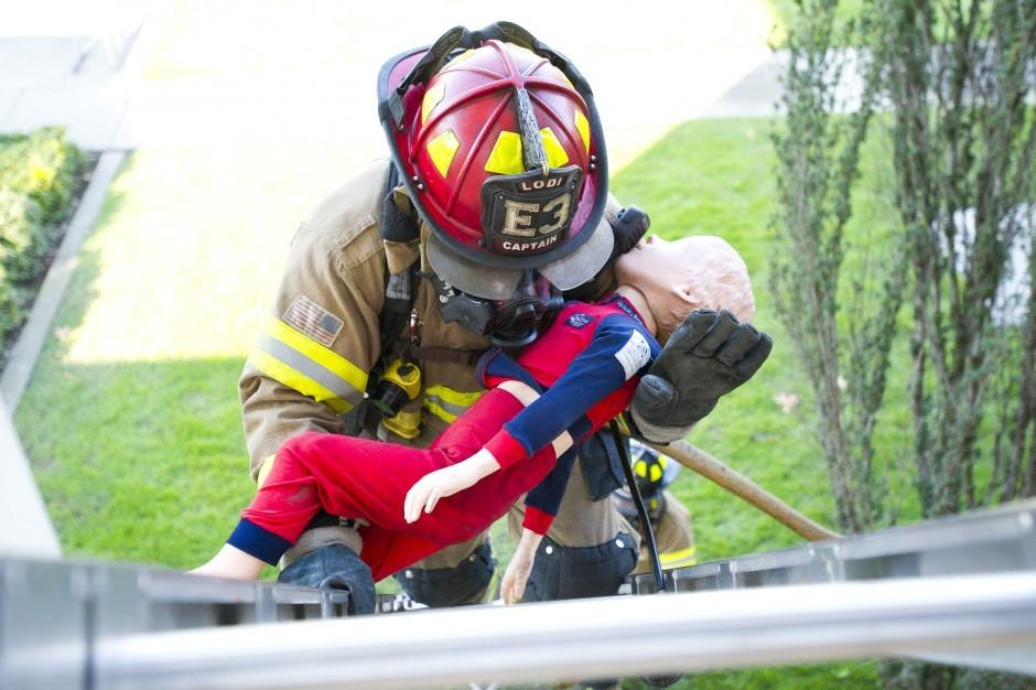 Firefighters practice window rescues