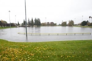 Storm Swamps Lodi: Heavy rain quickly filled up the drainage basin at Kofu Park in Lodi on Friday, Nov. 30, 2012.  - Dan Evans/News-Sentinel