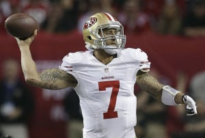 Colin Kaepernick Flashed Arm Against Lodi Bats: In this Jan. 20, 2012, file photo, San Francisco 49ers quarterback Colin Kaepernick throws a pass during the first half of the NFL football NFC Championship game against the Atlanta Falcons in Atlanta. Before leading the San Francisco 49ers to the Super Bowl, Kaepernick was a hard-throwing right-hander at Pitman High School in Turlock.