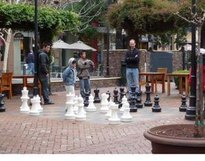 San Jose's Santana Row offers high-scale shopping — and a little chess for the kids