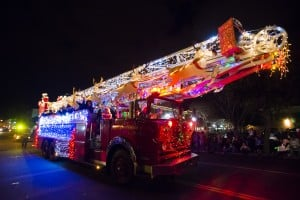 Parade Lights Up Lodi: Santa and Mrs. Claus ride the Lodi Fire Department's Santa truck during the 17th annual Parade of Lights in Downtown Lodi on Thursday, Dec. 6, 2012.  - Dan Evans/News-Sentinel