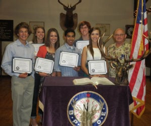 Elks Lodge Holds Scholarship Luncheon: Scholarship recipients from left are: Berkley Price, Gabriel Franke, Alexa Abdallah, Gagandeep Bedi, Joseph Vanderlans and Sierra MacLeod; and Exalted Ruler, Dave Binning. - Photo by Courtesy Photograph