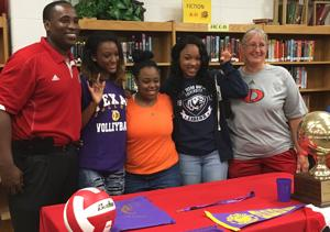 <p>Three Diboll seniors signed on Tuesday in the Diboll High School library. Pictured, from left, are Diboll girls' basketball coach Andre Emmons, Tiffany Simmons (Texas College), Miracle Haywood (Angelina College), Shayla Hubbard (East Texas Baptist) and Diboll volleyball coach Pam Bass.</p>