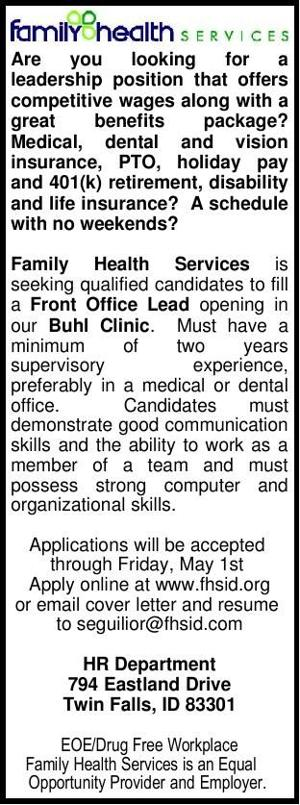 Front Office Lead