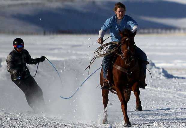skiing behind the horse  skijoring season to begin