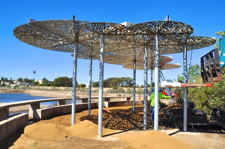 Photos workers install shade structure at malibu lagoon for Steel shade structure design