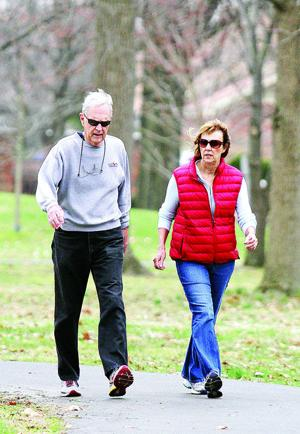 """<p>Photo by Greg Eans, Messenger-Inquirer/geans@messenger-inquirer.com Dr. Bill Langford and wife, Lane Langford, get their exercise Wednesday morning by walking the paved trail that circles Legion Park. """"I'm out here five days a week,"""" Bill said. Lane Gets her exercise by walking with Bill and also works out at the Owensboro Health Healthpark.</p>"""