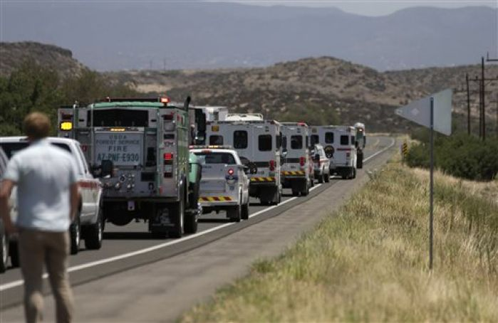 Firefighters pause to honor fallen Granite Mountain Hotshots