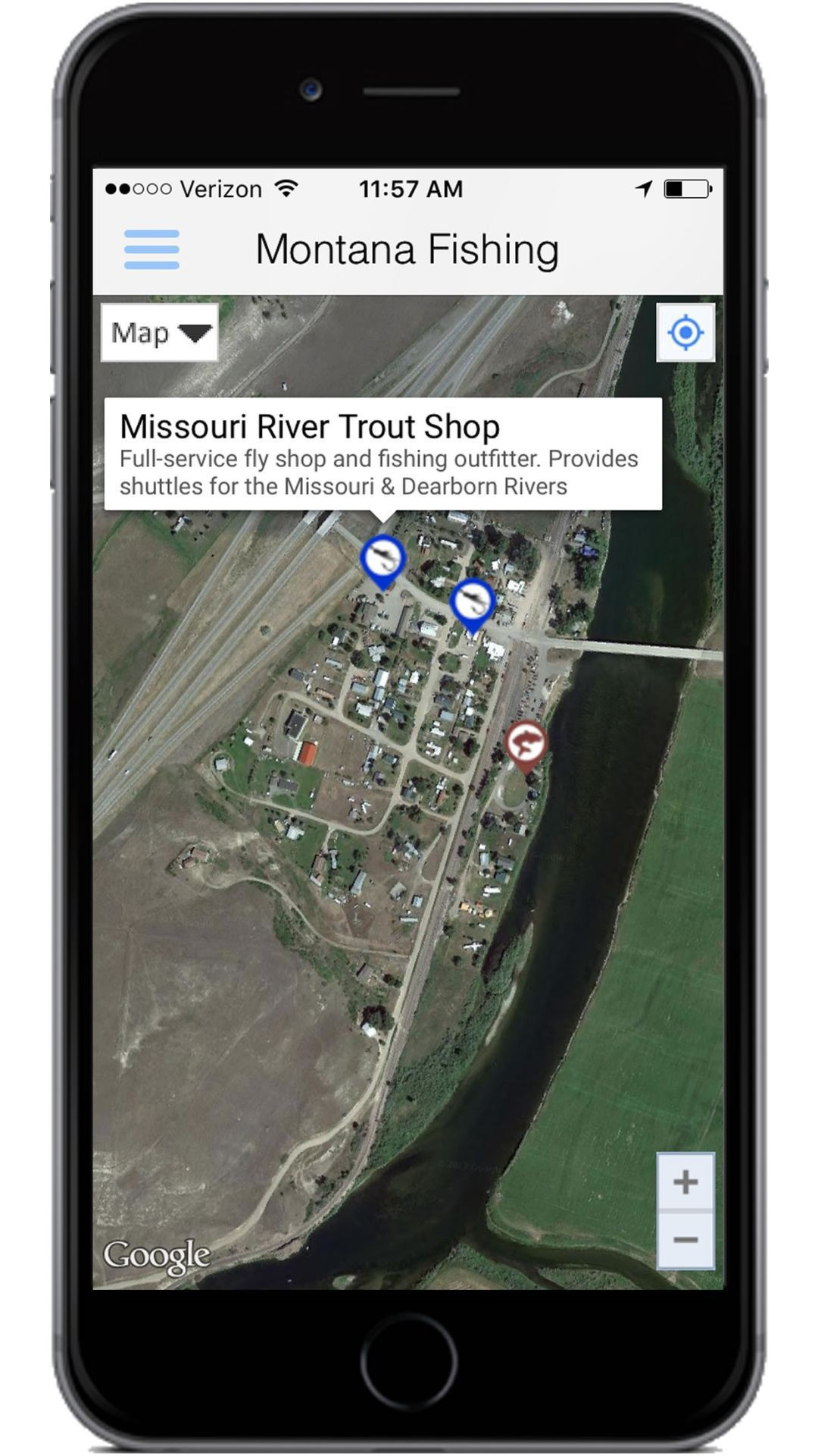 New app links anglers floaters to reams of montana info for Closest fishing store