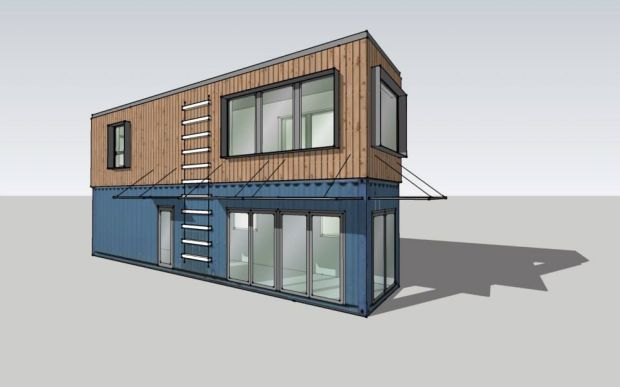 Cozy container from montainer on display in downtown missoula for Construction container